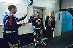 Stockholm 2014-03-27 Ishockey Kvalserien Djurg&aring;rdens IF - R&ouml;gle BK :  <br /> Djurg&aring;rdens Jens Jakobs g&ouml;r high five med lagkamrat efter matchen<br /> (Foto: Kenta J&ouml;nsson) Nyckelord:  DIF Djurg&aring;rden R&ouml;gle RBK Hovet jubel gl&auml;dje lycka glad happy