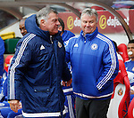 Sam Allardyce manager of Sunderland greets Guus Hiddink manager of Chelsea during the Barclays Premier League match at the Stadium of Light, Sunderland. Photo credit should read: Simon Bellis/Sportimage