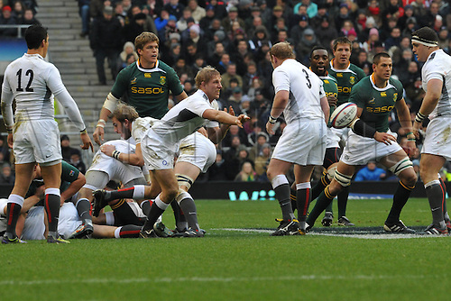 27.11.10  Lewis Moody flanker of Bath and captain of England n action during the Investec rugby  International between England and South Africa at Twickenham Stadium London