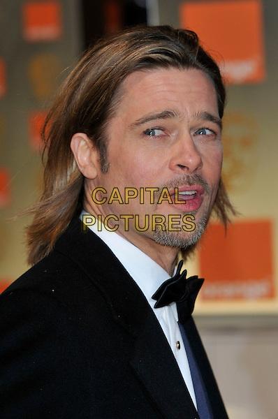 Brad Pitt .The Orange British Academy Film Awards ( BAFTA ), Royal Opera House, Bow St., London, England..February 12th, 2012.baftas  portrait headshot black bow tie tuxedo beard facial hair goatee .CAP/PL.©Phil Loftus/Capital Pictures.