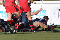Jason Harries of London Scottish scores a try in the corner during the Greene King IPA Championship match between London Scottish Football Club and Jersey at Richmond Athletic Ground, Richmond, United Kingdom on 18 February 2017. Photo by David Horn / PRiME Media Images.