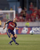 Real Salt Lake midfielder Clint Mathis (84) passes the ball. Salt Lake Real defeated Toronto FC, 3-0, at Rio Tinto Stadium on June 27, 2009.