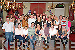 Kerrie McCord,Tralee had a happy tearful beginning to the surprise 40th birthday party organised by her family and twin brother David O'Sullivan,Killarney(seated 3rd&4th Lt)last Saturday night in the Imperial hotel,Tralee enjoyed by many friends.