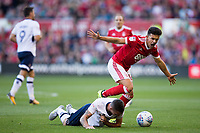 Zach Clough of Nottingham Forest reacts angrily after being adjudged to have fouled Shaun Williams of Millwall during the Sky Bet Championship match between Nottingham Forest and Millwall at the City Ground, Nottingham, England on 4 August 2017. Photo by James Williamson / PRiME Media Images.