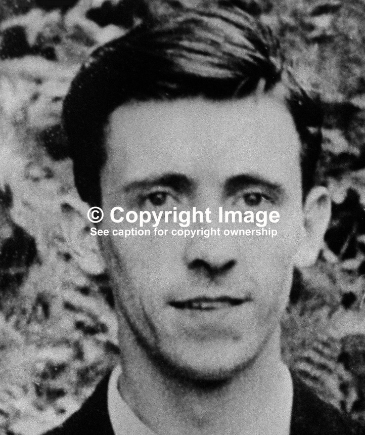 Joseph McAleese, 38 years, postman, Ballymurphy, Belfast, who was shot dead by UVF gunmen as he walked home with a colleague, Michael Coleman. Both men who died were still in their uniforms. 18th February 1973. 19730218001<br /> <br /> Copyright Image from Victor Patterson, 54 Dorchester Park, <br /> Belfast, UK, BT9 6RJ<br /> <br /> t1: +44 28 9066 1296 (from Rep of Ireland 048 9066 1296)<br /> t2: +44 28 9002 2446 (from Rep of Ireland 048 9002 2446)<br /> m: +44 7802 353836<br /> <br /> e1: victorpatterson@me.com<br /> e2: victorpatterson@gmail.com<br /> <br /> www.victorpatterson.com<br /> <br /> Please see my Terms and Conditions of Use at VICTORPATTERSON.COM. It is IMPORTANT that you familiarise yourself with them.<br /> <br /> Images used on the Internet must be visibly watermarked i.e. &copy;VICTORPATTERSON.COM within the body of the image and copyright metadata must not be deleted. Images used on the Internet have a size restriction of 4kbs and are chargeable at the then current NUJ rates.<br /> <br /> This image is only available for the use of the download recipient i.e. television station, newspaper, magazine, book publisher, etc, and must not be passed on to any third party. It is also downloaded on condition that each and every usage is notified within 7 days to victorpatterson@me.com<br /> <br /> The right of Victor Patterson to be identified as the author is asserted in accordance with The Copyright Designs And Patents Act (1988).