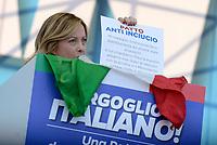 Roma, 19 Ottobre 2019<br /> Giorgia Meloni.<br /> Orgoglio italiano, manifestazione della Lega e del centro destra a San Giovanni, contri il governo