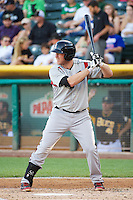 Hunter Morris (25) of the Nashville Sounds at bat against the Salt Lake Bees in Pacific Coast League action at Smith's Ballpark on June 23, 2014 in Salt Lake City, Utah.  (Stephen Smith/Four Seam Images)