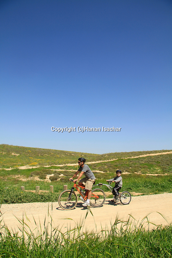 Israel, Coastal Plain, Cycling by Pura Nature Reserve