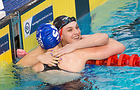 Picture by Allan McKenzie/SWpix.com - 17/12/2017 - Swimming - Swim England Nationals - Swim England National Championships - Ponds Forge International Sports Centre, Sheffield, England - Eleanor Faulkner is congratulated by Holly Hibbott on winning the womens 400m freestyle.
