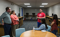 NWA Democrat-Gazette/BEN GOFF @NWABENGOFF<br /> Ethan Campbell, youth development coordinator at the Rogers Boys & Girls Club, talks about the tech center/conference room Thursday, June 6, 2019, during a grand opening for the new Teen Center across the street from the Boys & Girls Club in Rogers.