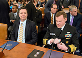 "James Comey, Director of the Federal Bureau of Investigation, left, and Mike Rogers, Director of the National Security Agency, right, prior to giving testimony before the United States House Permanent Select Committee on Intelligence (HPSCI) on the ""Russian Active Measures Investigation"" on Capitol Hill in Washington, DC on Monday, March 20, 2017.<br /> Credit: Ron Sachs / CNP<br /> (RESTRICTION: NO New York or New Jersey Newspapers or newspapers within a 75 mile radius of New York City)"