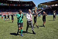 Portland, OR - Saturday August 05, 2017: Adrianna Franch, Mark Parsons after a regular season National Women's Soccer League (NWSL) match between the Portland Thorns FC and the Houston Dash at Providence Park.