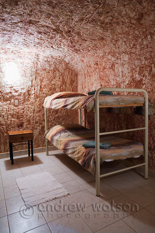 Underground dormitory at Radeka's Downunder Dugout Motel and Backpackers - Coober Pedy, South Australia, AUSTRALIA.