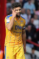 Wigan's Sam Morsy urges the referee to think carefully before showing him a red card. It didn't work as he was sent off during Brentford vs Wigan Athletic, Sky Bet EFL Championship Football at Griffin Park on 15th September 2018