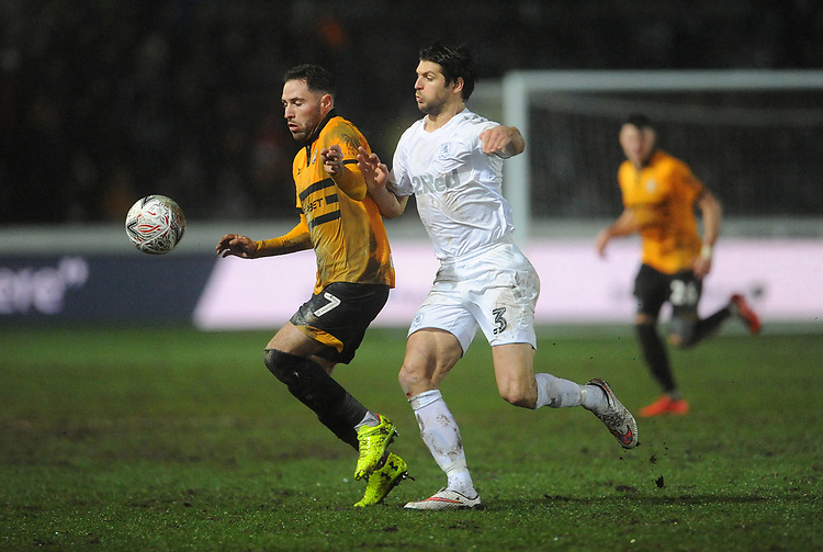 Newport County's Robbie Willmott battles with Middlesbrough's George Friend<br /> <br /> Photographer Ian Cook/CameraSport<br /> <br /> Emirates FA Cup Fourth Round Replay - Newport County v Middlesbrough - Tuesday 5th February 2019 - Rodney Parade - Newport<br />  <br /> World Copyright &copy; 2019 CameraSport. All rights reserved. 43 Linden Ave. Countesthorpe. Leicester. England. LE8 5PG - Tel: +44 (0) 116 277 4147 - admin@camerasport.com - www.camerasport.com