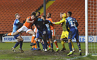 Blackpool's Ben Heneghan heads in his team's first goal <br /> <br /> Photographer Dave Howarth/CameraSport<br /> <br /> The EFL Sky Bet League One - Blackpool v Wycombe Wanderers - Tuesday 29th January 2019 - Bloomfield Road - Blackpool<br /> <br /> World Copyright © 2019 CameraSport. All rights reserved. 43 Linden Ave. Countesthorpe. Leicester. England. LE8 5PG - Tel: +44 (0) 116 277 4147 - admin@camerasport.com - www.camerasport.com
