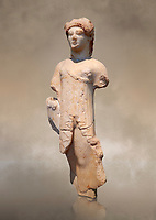 Marble Ancient Archaic Greek statuette of a Kore, from Aleusis, C. 490-480 BC, Athens National Archaeological Museum. Cat No 24