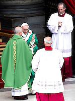 Papa Francesco saluta monsignor Rino Fisichella, a sinistra, al termine di una messa con i catechisti in Piazza San Pietro, Citta' del Vaticano, 29 settembre 2013.<br /> Pope Francis greets Monsignor Rino Fisichella, left, at the end of a mass with catechists in St. Peter's Square, Vatican, 29 September 2013.<br /> UPDATE IMAGES PRESS/Riccardo De Luca<br /> <br /> STRICTLY ONLY FOR EDITORIAL USE