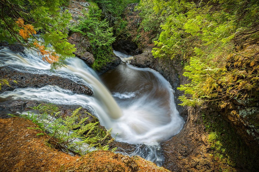 Snake Pit Falls is one of several spectacular waterfalls found at Amnicon State Park in Wisconsin.