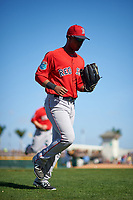 Boston Red Sox center fielder Joseph Monge (39) jogs to the dugout during a Spring Training game against the Pittsburgh Pirates on March 9, 2016 at McKechnie Field in Bradenton, Florida.  Boston defeated Pittsburgh 6-2.  (Mike Janes/Four Seam Images)