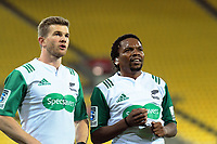 Assistant referee Brendon Pickerill and Referee Rasta Rasivhange during the Super Rugby match between the Hurricanes and Chiefs at Westpac Stadium in Wellington, New Zealand on Friday, 27 April 2019. Photo: Dave Lintott / lintottphoto.co.nz