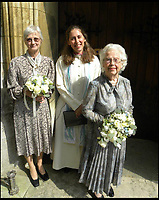 BNPS.co.uk (01202 558833)<br /> Pic: AnthonyOliver/BNPS<br /> <br /> Maid of Honour Julia Palmer, Rev Suzie Allen and blushing bride Margaret James (92).<br /> <br /> A couple with a combined age of 183 have tied the knot to become Britain's oldest newlyweds.<br /> <br /> Rob Cave, 91, and 92-year-old Margaret James, a former actress who appeared in the classic romance film Brief Encounter, wed in front of 150 friends and family at Wimborne Minster in Dorset.<br /> <br /> The church-going couple have known each other for over 30 years but became an item after their respective spouses died within three months of each other in 2015.<br /> <br /> They consoled each other to begin with and from seeing each other every day, their friendship developed into a romance.