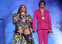 JOHANNESBURG, SOUTH AFRICA - DECEMBER 2:  Beyonce and Jay-Z perform during the Global Citizen Festival: Mandela 100 at FNB Stadium on December 2, 2018 in Johannesburg, South Africa. (Photo by Raven Varona/Parkwood/PictureGroup)