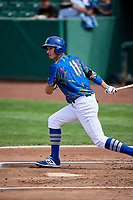 Mitchell Hansen (11) of the Ogden Raptors bats against the Billings Mustangs at Lindquist Field on August 13, 2017 in Ogden, Utah. The Raptors defeated the Mustangs 6-5.  (Stephen Smith/Four Seam Images)