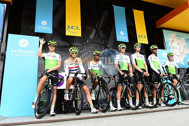 Team Dimension Data introduced on stage at sign on before Stage 1 of the 2018 Criterium du Dauphine 2018 running 179km from Valence to Saint-Just-Saint-Rambert, France. 4th June 2018.<br /> Picture: ASO/Alex Broadway | Cyclefile<br /> <br /> <br /> All photos usage must carry mandatory copyright credit (© Cyclefile | ASO/Alex Broadway)