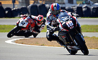 Chris Ulrich (18) is shown in action during the AMA SuperBike motorcycle race at Daytona International Speedway, Daytona Beach, FL, March 2011.(Photo by Brian Cleary/www.bcpix.com)