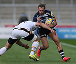 Tom Arscott  of Sale Sharks tackled by Andrea Masi of Wasps - Aviva Premiership - Sale Sharks vs Wasps  - AJ Bell Stadium - Salford, Manchester - 5th October 2014  - Picture Simon Bellis/Sportimage