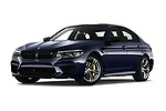 Stock pictures of low aggressive front three quarter view of a 2019 BMW M5 Competition Base 4 Door Sedan