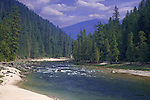 The Selway River, a tributary of the Clearwater, the Snake and the Columbia Rivers, is a wild and scenic river famous for trout fishing, rafting, and it's rich history in gold mining.  State of Idaho.