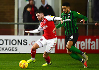 Fleetwood Town's Wes Burns holds off the challenge from Coventry City's Jordan Willis<br /> <br /> Photographer Richard Martin-Roberts/CameraSport<br /> <br /> The EFL Sky Bet League One - Fleetwood Town v Coventry City - Tuesday 27th November 2018 - Highbury Stadium - Fleetwood<br /> <br /> World Copyright &copy; 2018 CameraSport. All rights reserved. 43 Linden Ave. Countesthorpe. Leicester. England. LE8 5PG - Tel: +44 (0) 116 277 4147 - admin@camerasport.com - www.camerasport.com