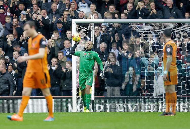 Wolves goalkeeper Carl Ikeme raects angrily following Derby's third goal - Football - Sky Bet Championship - Derby County vs Wolverhampton Wanderers - iPro Stadium Derby - Season 2014/15 - 8th November 2014 - Photo Malcolm Couzens/Sportimage