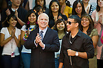 25 AUGUST 2008 -- PHOENIX, AZ:  US Sen John McCain (R-AZ), the presumptive Republican nominee for President, and Daddy Yankee visit Central High School in downtown Phoenix, AZ, Monday, Aug 25. McCain  campaigned with Puerto Rican hip hop, reggaeton star Daddy Yankee (Ramon Ayala), who endorsed McCain. Central High School is one of the most diverse high schools in Phoenix. More than 50 languages are spoken by students at the school.    PHOTO BY JACK KURTZ