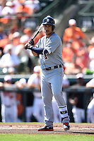 Detroit Tigers shortstop Jose Iglesias (1) during a Spring Training game against the Baltimore Orioles on March 4, 2015 at Ed Smith Stadium in Sarasota, Florida.  Detroit defeated Baltimore 5-4.  (Mike Janes/Four Seam Images)