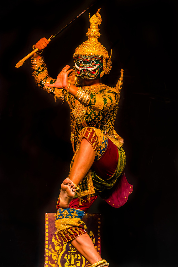 War of Pinunjit and Hanuman (from the Reamker, a Cambodian version of the Indian Ramayana epic, featuring Sbaek Thom (large shadow puppet) and Lakhorn Khaeol (classical male masked dance), Traditional dance show presented by Cambodian Living Arts, National Museum of Cambodia, Phnom Penh, Cambodia.