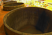 Wooden fermentation vats from above.  Domaine M Chapoutier, Tain l'Hermitage, Drome Drôme, France Europe