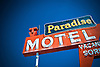 Paradise Motel vintage sign, Tucumcari, New Mexico, USA.