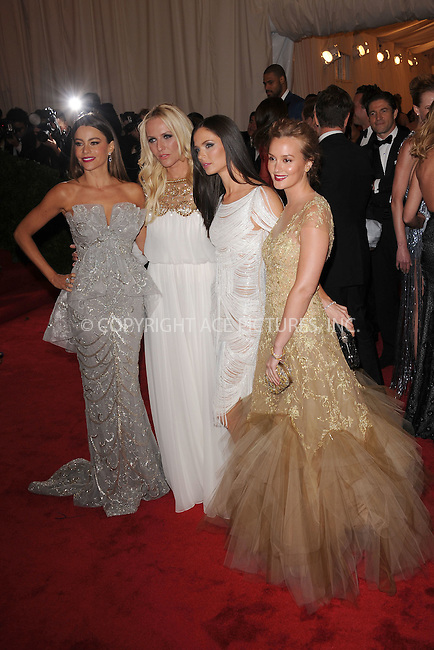 """WWW.ACEPIXS.COM . . . . . .May 7, 2012...New York City....Sofia Vergara, Keren Craig, Georgina Chapman and Leighton Meester attending the """"Schiaparelli and Prada: Impossible Conversations"""" Costume Institute Gala at The Metropolitan Museum of Art in New York City on May 7, 2012  in New York City ....Please byline: KRISTIN CALLAHAN - ACEPIXS.COM.. . . . . . ..Ace Pictures, Inc: ..tel: (212) 243 8787 or (646) 769 0430..e-mail: info@acepixs.com..web: http://www.acepixs.com ."""