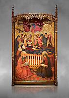 Gothic altarpiece of the Dormition of the Madonna (Dormicio de la Mare de Dieu) by Pere Garcia de Benavarri, circa 1460-1465, tempera and gold leaf on wood.  National Museum of Catalan Art, Barcelona, Spain, inv no: MNAC  64040. Against a grey art background.