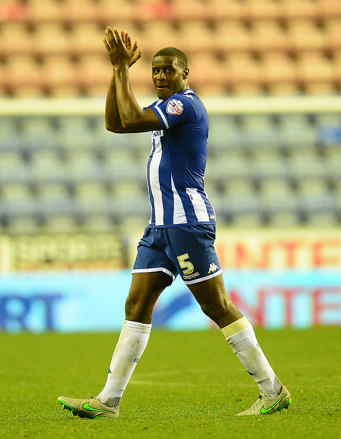 Wigan Athletic's Donervon Daniels applauds the fans at the end of the match<br /> <br /> Photographer Richard Martin-Roberts/CameraSport<br /> <br /> Football - The Football League Sky Bet League One - Wigan Athletic v Scunthorpe United - Wednesday 19th August 2015 - DW Stadium - Wigan  <br /> <br /> &copy; CameraSport - 43 Linden Ave. Countesthorpe. Leicester. England. LE8 5PG - Tel: +44 (0) 116 277 4147 - admin@camerasport.com - www.camerasport.com