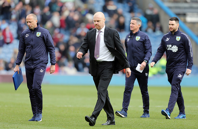 Burnley manager Sean Dyche makes his way to the dressing room with his coaching staff at half time<br /> <br /> Photographer Rich Linley/CameraSport<br /> <br /> The Premier League - Burnley v Wolverhampton Wanderers - Saturday 30th March 2019 - Turf Moor - Burnley<br /> <br /> World Copyright © 2019 CameraSport. All rights reserved. 43 Linden Ave. Countesthorpe. Leicester. England. LE8 5PG - Tel: +44 (0) 116 277 4147 - admin@camerasport.com - www.camerasport.com