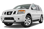 Stock pictures of low aggressive front three quarter view of a 2010 Nissan Armada SE 5 Door SUV