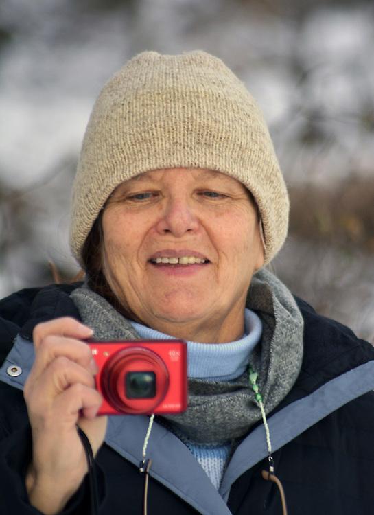 Ginny Christensen, enjoying the Falling Waters Nature Preserve, near Glasco, NY., January 1, 2018. Photo by Jim Peppler. Copyright/Jim Peppler/2017.