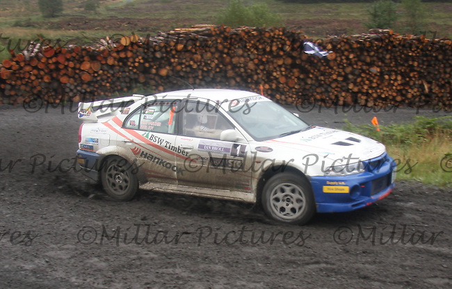 Mike Faulkner / Peter Foy at Junction 9 on Craignell, Special Stage 1 of the Ian Broll Merrick Stages Rally 2012, Round 7 of the RAC MSA Scotish Rally Championship which was organised by Machars Car Club and Scottish Sporting Car Club and based in Wigtown on 1.9.12.