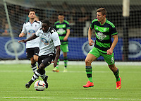 Pictured: Adnan Maric of Swansea (R) Saturday 11 July 2015<br />