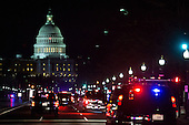 President Barack Obama's motorcade makes it way down Pennsylvania  Avenue toward the U.S. Capitol, in Washington, DC on February 12, 2013. The President delivered his State of the Union address Tuesday evening..Credit: Drew Angerer / Pool via CNP