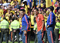 BOGOTA - COLOMBIA, 05-07-2018: Radamel FALCAO GARCIA, Carlos BACCA, David OSPINA jugadores de la Selección Colombia de fútbol reciben un homenaje hoy, 05 de julio de 2018, después de su participación en la Copa Mundial de la FIFA Rusia 2018. El acto tuvo lugar een el estadio Nemesio Camacho El Campín de la ciudad de Bogotá / Radamel FALCAO GARCIA, Carlos BACCA, David OSPINA, players of Colombia national soccer team receives tribute today, July 5, 2018, after their participation in the FIFA World Cup Russia 2018. The event took place at Nemesio Camacho El Campin stadium in Bogota city. Photo: VizzorImage / Gabriel Aponte / Staff